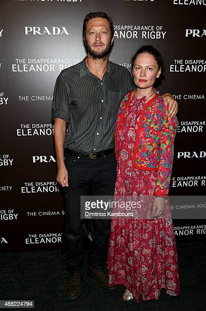 Actor Ebon MossBachrach and Yelena Yemchuk attends the Prada and The Cinema Society screening of The Weinstein Company's 'The Disappearance of...