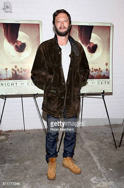 Actor Ebon Moss-Bachrach arrives at the 'Knight of Cups' New York screening held at Metrograph on February 22, 2016 in New York City.
