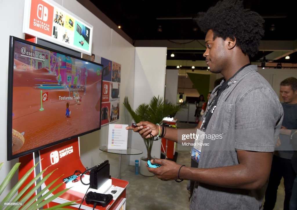 Actor Echo Kellum plays Super Mario Odyssey at the Nintendo booth at the 2017 E3 Gaming Convention at Los Angeles Convention Center on June 15, 2017 in Los Angeles, California.