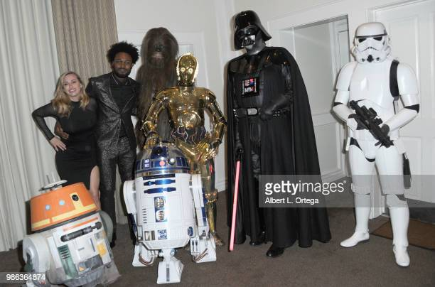 Actor Echo Kellum poses with Chewbacca C3PO Darth Vader Storm Trooper Chopper and R2D2 at the After Party at the Academy Of Science Fiction Fantasy...