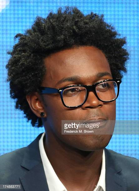Actor Echo Kellum speaks onstage during the Sean Saves the World panel discussion at the NBC portion of the 2013 Summer Television Critics...