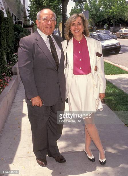 Actor Ed Asner and Cindy Gilmore attend 10th Anniversary Party for Medical Aid for El Salvador on June 1 1991 at Maple Drive Restaurant in Beverly...