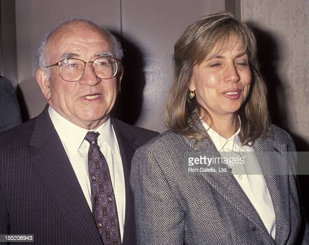Actor Ed Asner and Cindy Gilmore attend 11th Annual Eleanor Roosevelt Awards on April 25 1993 at Airport Hyatt Hotel in Los Angeles California