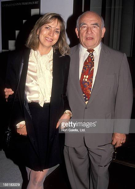 Actor Ed Asner and Cindy Gilmore attend 20th Anniversary Celebration of Police Story on March 11 1992 at the Los Angeles Museum of Art in Beverly...
