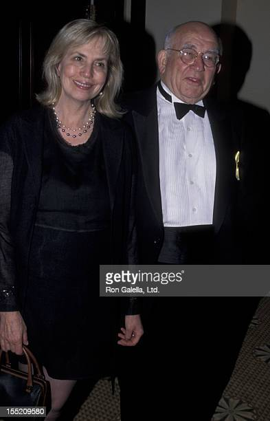 Actor Ed Asner and Cindy Gilmore attend 45th Annual Thalians Ball on October 7 2000 at the Century Plaza Hotel in Century City California