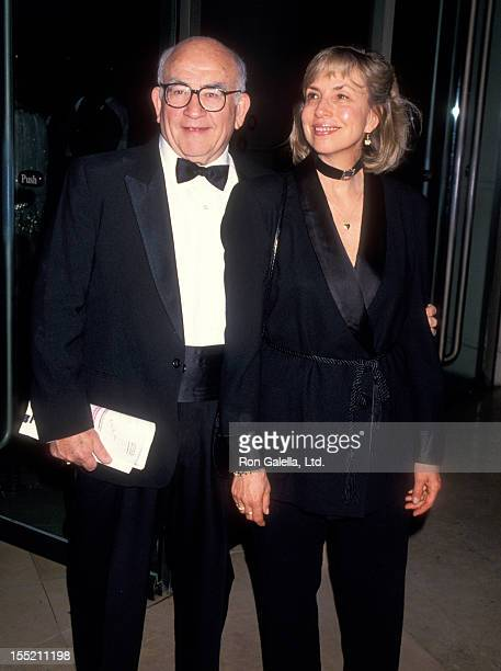 Actor Ed Asner and Cindy Gilmore attend 46th Annual Writers Guild of America Awards on March 13 1994 at the Beverly Hilton Hotel in Beverly Hills...