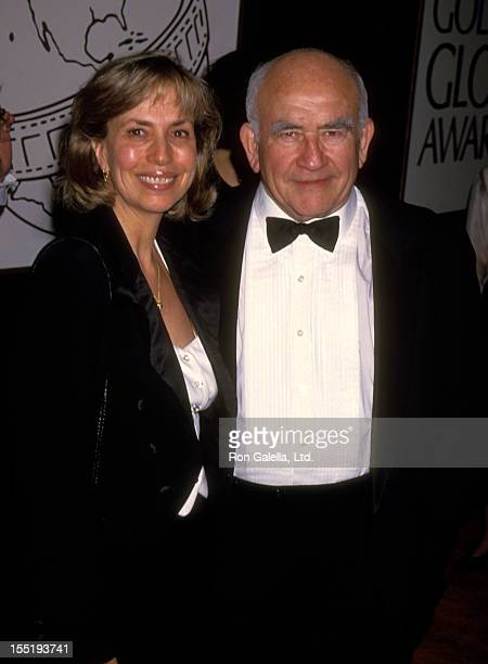 Actor Ed Asner and Cindy Gilmore attend 51st Annual Golden Globe Awards on January 22 1994 at the Beverly Hilton Hotel in Beverly Hills California