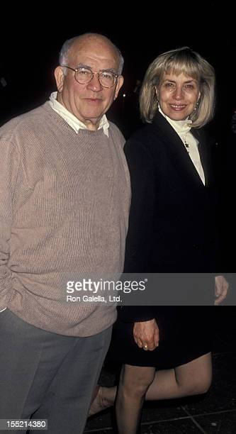 Actor Ed Asner and Cindy Gilmore attend ABC TV Winter Press Tour on January 12 1995 at the Ritz Carlton Hotel in Pasadena California