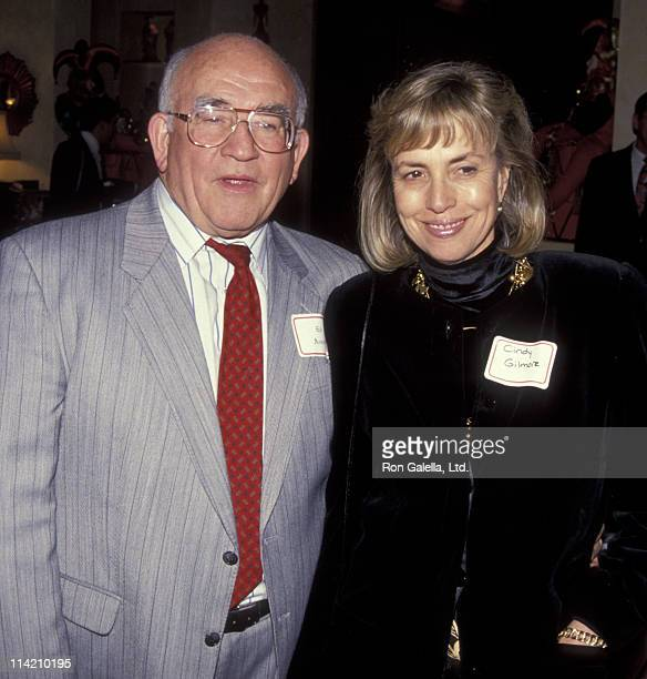 Actor Ed Asner and Cindy Gilmore attend Casey Kasem Jean Kasme's Holiday Party on December 12 1991 at Casey Kasem's home in Bel Air California