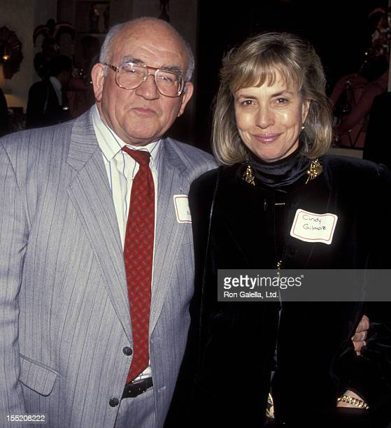 Actor Ed Asner and Cindy Gilmore attend Casey Kasem Jean Kasme's Holiday Party on December 12 1991 at Casey Kasem's home in Bel Air California