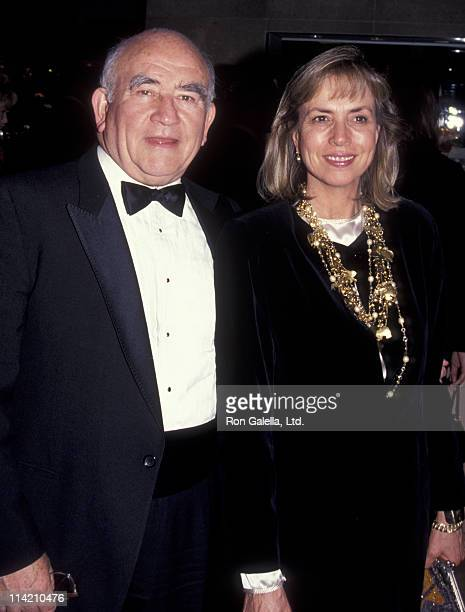 Actor Ed Asner and Cindy Gilmore attend Cinematographer Awards Gala on February 23 1992 at the Beverly Hilton Hotel in Beverly Hills California