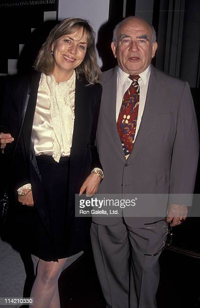 Actor Ed Asner and Cindy Gilmore attend the screening of Police Story on March 11 1992 at the Los Angeles Museum of Art in Los Angeles California