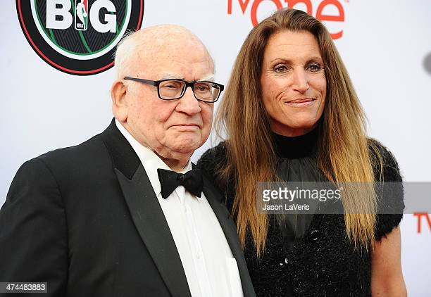 Actor Ed Asner and daughter Liza Asner attend the 45th NAACP Image Awards at Pasadena Civic Auditorium on February 22 2014 in Pasadena California