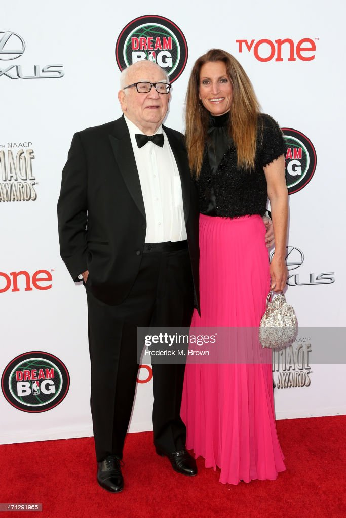 Actor Ed Asner (L) and guest attend the 45th NAACP Image Awards presented by TV One at Pasadena Civic Auditorium on February 22, 2014 in Pasadena, California.