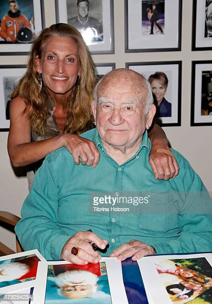 Actor Ed Asner and his daughter Liza Asner attend a fan meet and greet at In Person Inc on July 10 2013 in Hollywood California