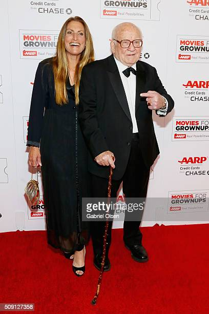 Actor Ed Asner and Liza Asner attend AARP's Movie For GrownUps Awards at the Beverly Wilshire Four Seasons Hotel on February 8 2016 in Beverly Hills...