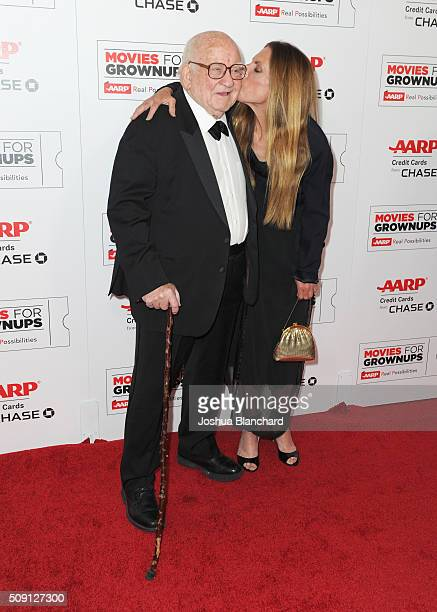 Actor Ed Asner and Liza Asner attends AARP's 15th Annual Movies For Grownups Awards at the Beverly Wilshire Four Seasons Hotel on February 8 2016 in...