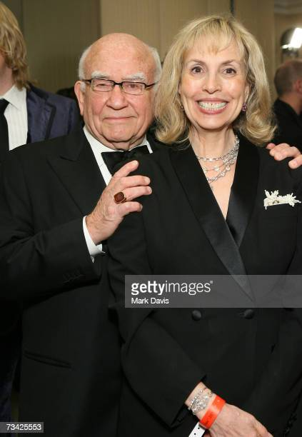 Actor Ed Asner and wife Cindy Gilmore arrive at the 17th Annual Night Of 100 Stars Oscar Gala held at the Beverly Hills Hotel on February 25 2007 in...