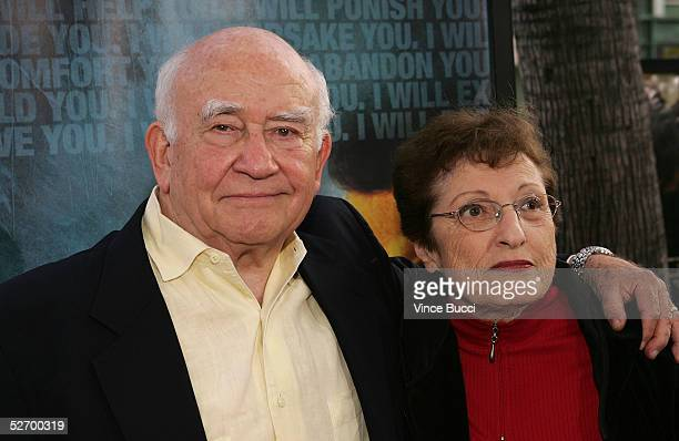 """Actor Ed Asner and wife Cindy Gilmore arrive at the premiere of """"Crash"""" at the Academy of Motion Picture Arts & Sciences Theater on April 26, 2005 in..."""