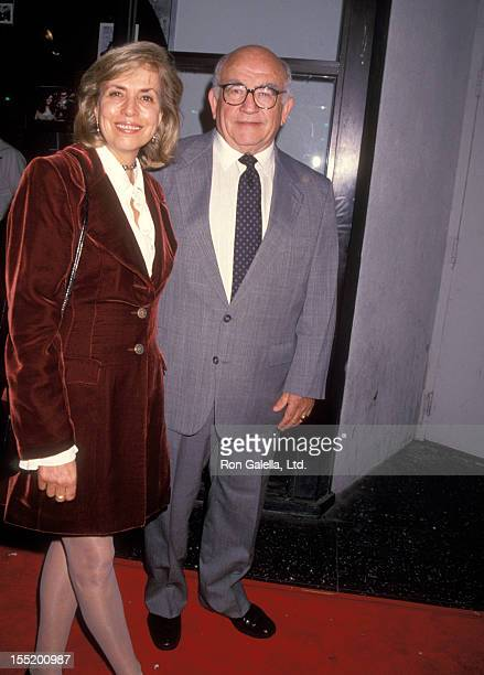 Actor Ed Asner and wife Cindy Gilmore attend the premiere of Gypsy on November 1 1992 at the Egyptian Theater in Hollywood California