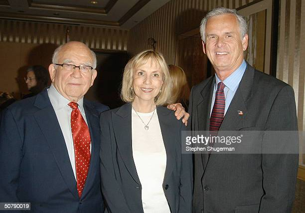 Actor Ed Asner his wife Cindy and Los Angeles Mayor James Hahn attend Senator Barbara Boxer's Women Making History Honors Annette Bening at the St...