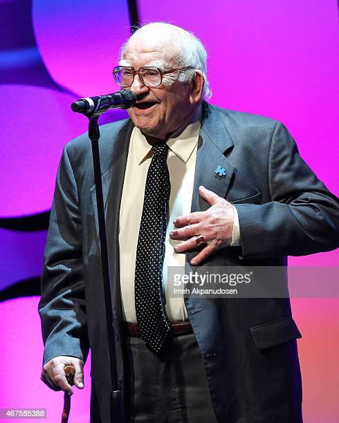 Actor Ed Asner performs onstage during the LA Theatre Works 40th Anniversary Gala at The Beverly Hilton Hotel on March 25 2015 in Beverly Hills...