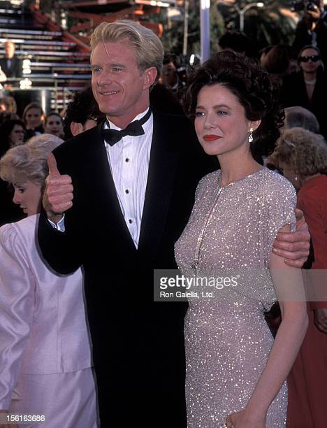 Actor Ed Begley Jr and actress Annette Bening attend the 63rd Annual Academy Awards on March 25 1991 at Shrine Auditorium in Los Angeles California