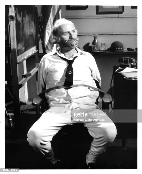 Actor Ed Begley on set of the movie The Monitors in 1969