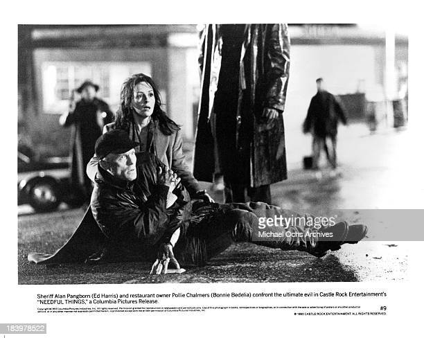 Actor Ed Harris and actress Bonnie Bedelia on set of the Castle Rock Entertainment movie Needful Things in 1993