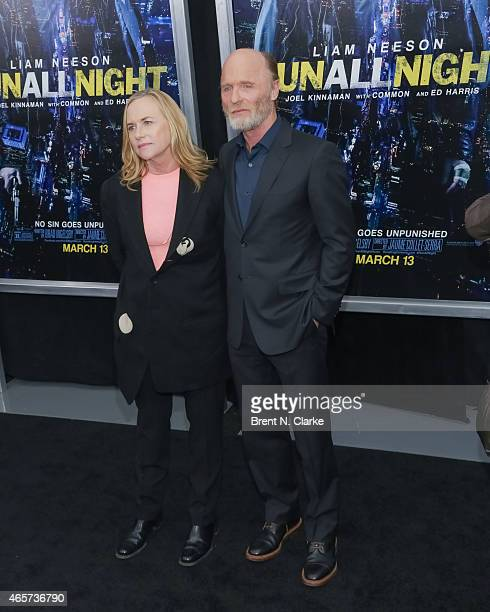 Actor Ed Harris and wife actress Amy Madigan arrive for the Run All Night New York Premiere at AMC Lincoln Square Theater on March 9 2015 in New York...