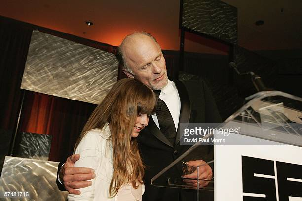 Actor Ed Harris enjoys a moment with his daughter Lily Harris 12 years as he accepts the 2006 Peter J Owens award at the the 49th San Francisco...