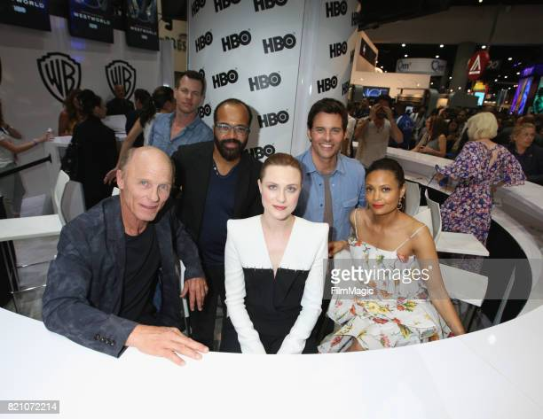 Actor Ed Harris writer/producer Jonathan Nolan actors Jeffrey Wright Evan Rachel Wood James Marsden and Thandie Newton attend the 'Westworld' signing...