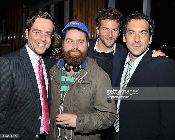 Actor Ed Helms actor Zach Galifianakis actor Bradley Cooper and director Todd Phillips attend the after party for the Cinema Society Bing screening...