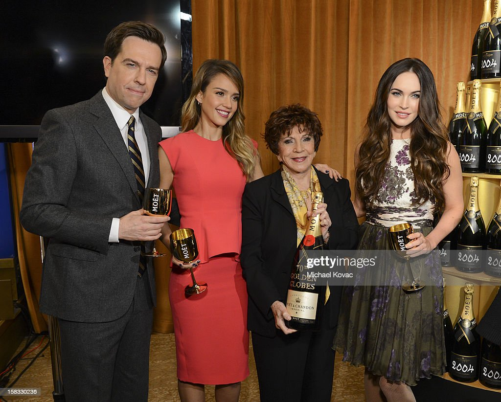 Actor Ed Helms, actress Jessica Alba, Hollywood Foreign Press Association (HFPA) President Dr. Aida Takla-O'Reilly, and actress Megan Fox toast the 70th Annual Golden Globe Nominations with Moet & Chandon at the The Beverly Hilton on December 13, 2012 in Los Angeles, California.