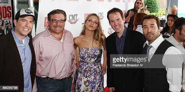 Actor Ed Helms Alex Ferrari actress Jordana Spiro President of CMT Brian Philips and actor Jeremy Piven attend a screening of The Goods Live Hard...