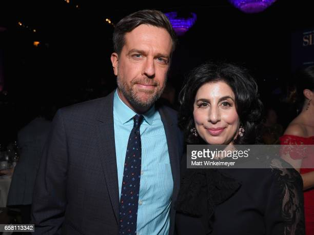 Actor Ed Helms and President Worldwide Marketing Distribution Warner Bros Pictures Sue Kroll at the Venice Family Clinic Silver Circle Gala 2017...