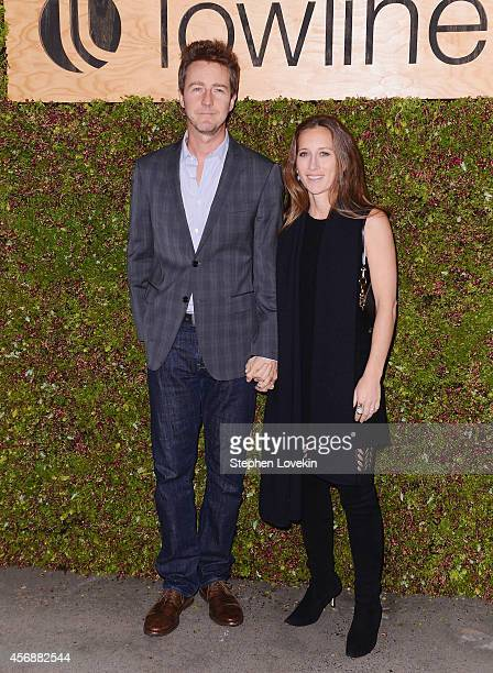 Actor Ed Norton and Shauna Robertson attend The Lowline AntiGala Benefit Dinner at Skylight Modern on October 8 2014 in New York City
