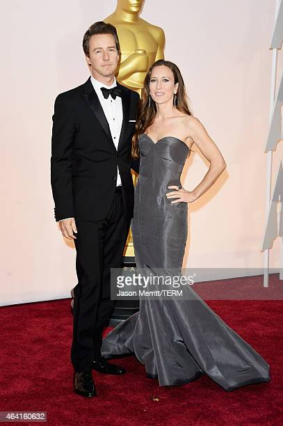 Actor Ed Norton and Shauna Robertson attends the 87th Annual Academy Awards at Hollywood Highland Center on February 22 2015 in Hollywood California