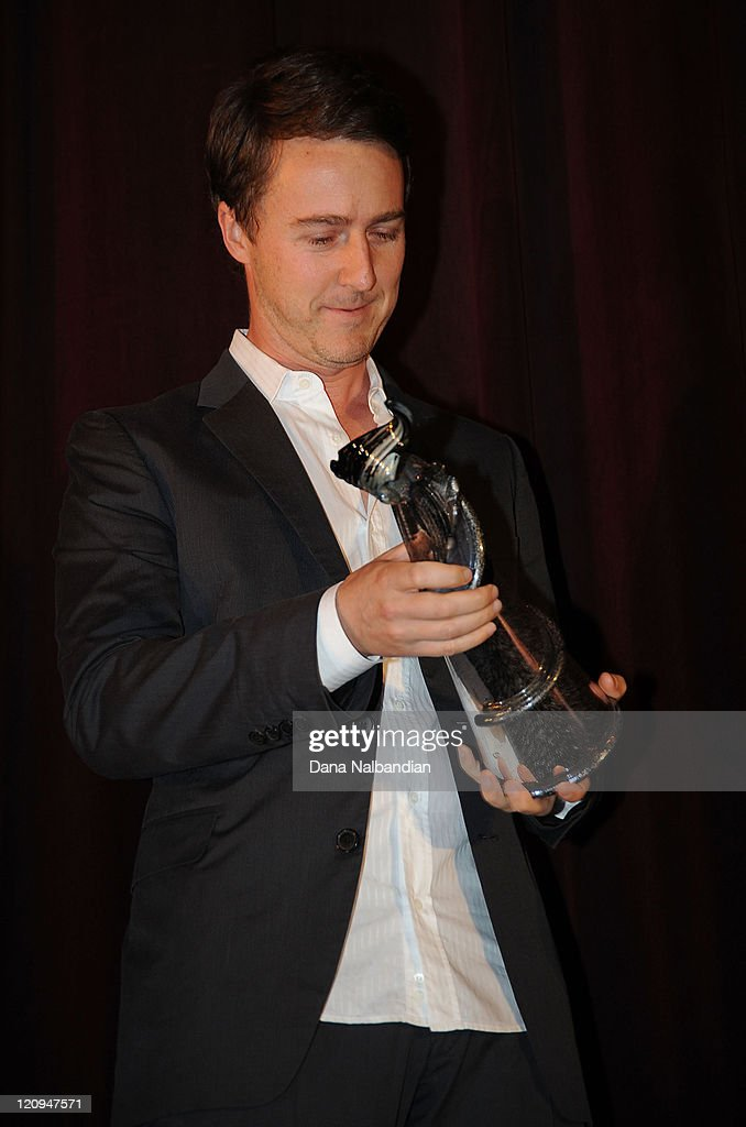 Actor Ed Norton holds his Golden Space Needle Award for excellence in acting at Egyptian Theater, Seattle on June 4, 2010 in Seattle, Washington.