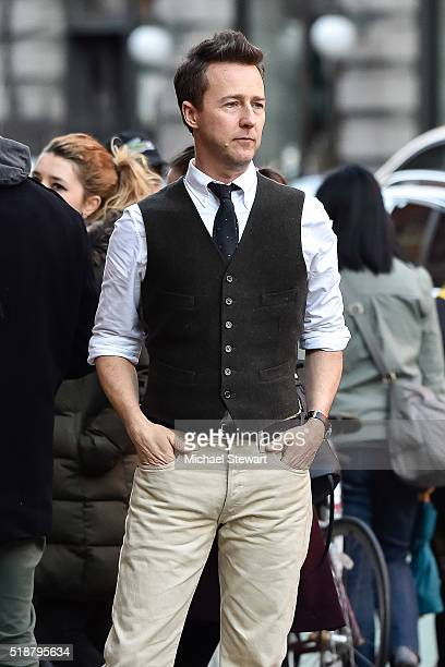 """Actor Ed Norton is seen filming """"Collateral Beauty"""" on location on April 2, 2016 in New York City."""