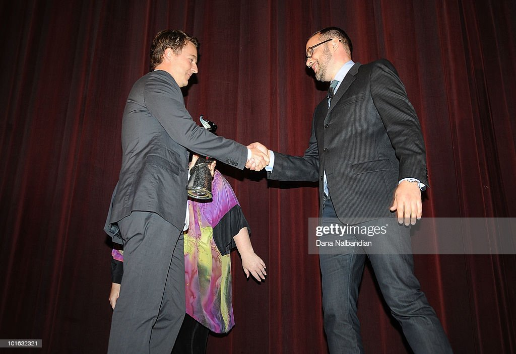 Actor Ed Norton shakes hands with Carl Spence at Egyptian Theater, Seattle on June 4, 2010 in Seattle, Washington.