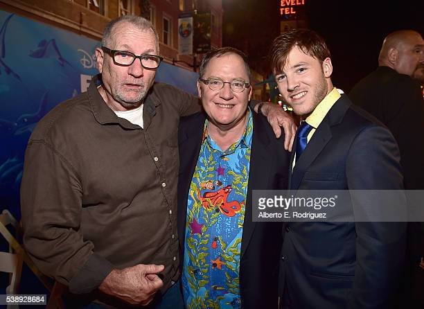 Actor Ed O'Neill Executive producer John Lasseter and director Bennett Lasseter attend The World Premiere of DisneyPixar's FINDING DORY on Wednesday...