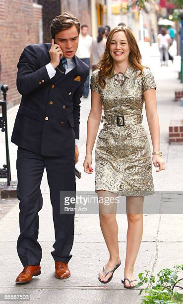 """Actor Ed Westwick and actress Leighton Meester are seen on the set of """"Gossip Girl"""" filming season three, on the streets of Manhattan on June 29,..."""
