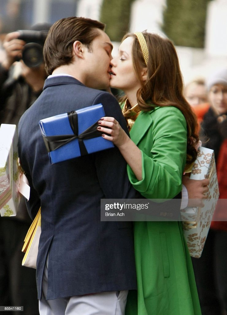 Actor Ed Westwick and actress Leighton Meester seen on the streets of Manhattan on March 16, 2009 in New York City.