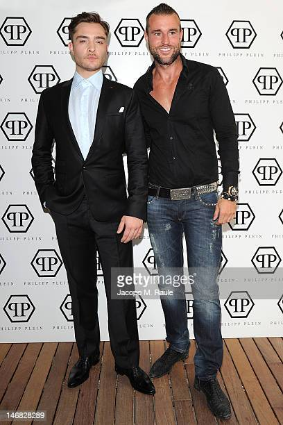 Actor Ed Westwick and designer Philipp Plein attend the Philipp Plein press conference as part of Milan Fashion Week Menswear Spring/Summer 2013 on...