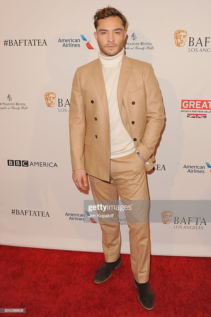 Actor Ed Westwick arrives at BAFTA Los Angeles Awards Season Tea at Four Seasons Hotel Los Angeles at Beverly Hills on January 9, 2016 in Los Angeles, California.
