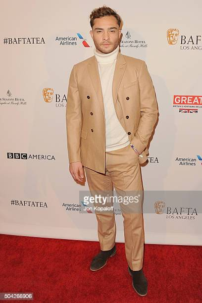 Actor Ed Westwick arrives at BAFTA Los Angeles Awards Season Tea at Four Seasons Hotel Los Angeles at Beverly Hills on January 9 2016 in Los Angeles...