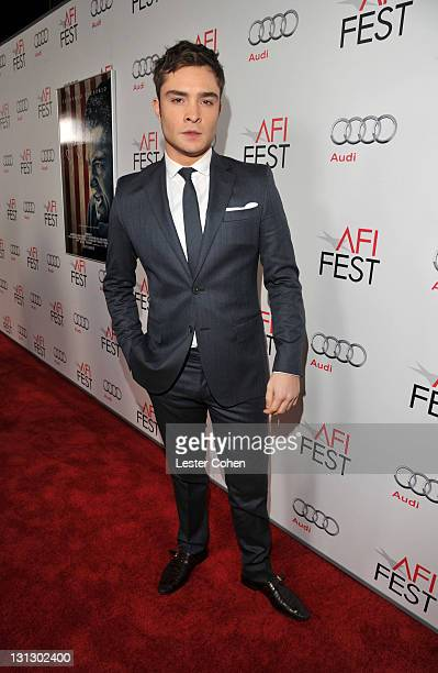 """Actor Ed Westwick arrives at the AFI Fest 2011 Opening Night Gala World Premiere Of """"J. Edgar"""" at Grauman's Chinese Theatre on November 3, 2011 in..."""