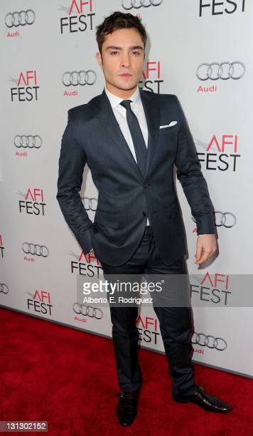 Actor Ed Westwick arrives at the J Edgar opening night gala during AFI FEST 2011 presented by Audi held at Grauman's Chinese Theatre on November 3...