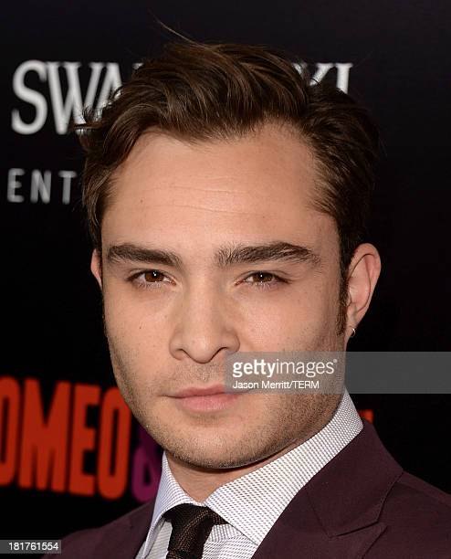 Actor Ed Westwick arrives at the premiere of Relativity Media's 'Romeo Juliet' at ArcLight Hollywood on September 24 2013 in Hollywood California